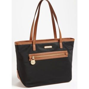 Michael Kors Kempton black tan nylon tote
